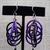 Lg Aluminum Multi Ring Earrings - black and purple