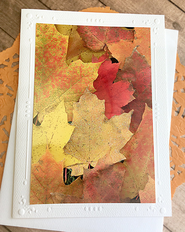 Glitter Accent Fall Leaves Fine Art Photography Card, Autumn, Halloween,
