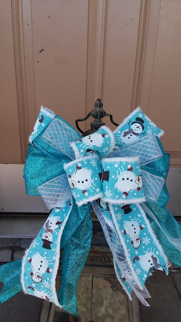 Christmas Wreath Bow ~ Snowman Door Bow ~Christmas Decorative Bow ~ Lantern Bow