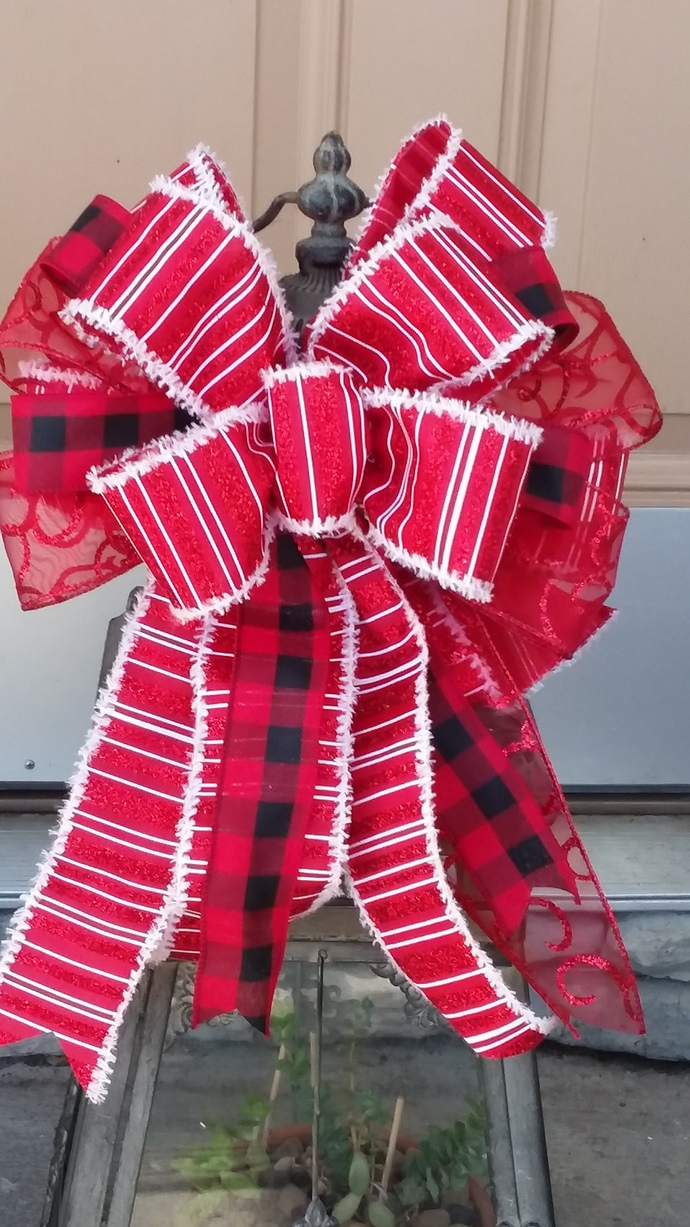 Christmas Wreath Bow ~ Red Truck Front Door Wreath Bow ~Christmas Decorative Bow