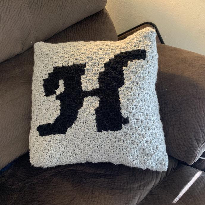 Monogram Script Letter H C2C Crochet Pattern Throw Pillow PDF Graph & Written