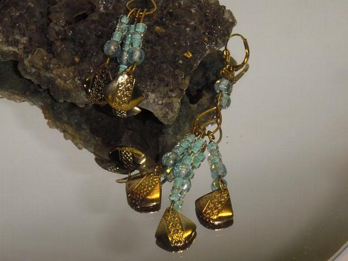 Light Blue Glass bead cascading chandelier earrings gold lever back