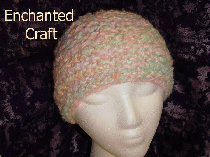 handmade knitted multicolored adult hat