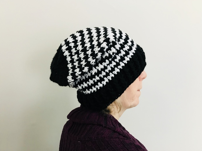 Black and White Crochet Houndstooth Slouch Hat