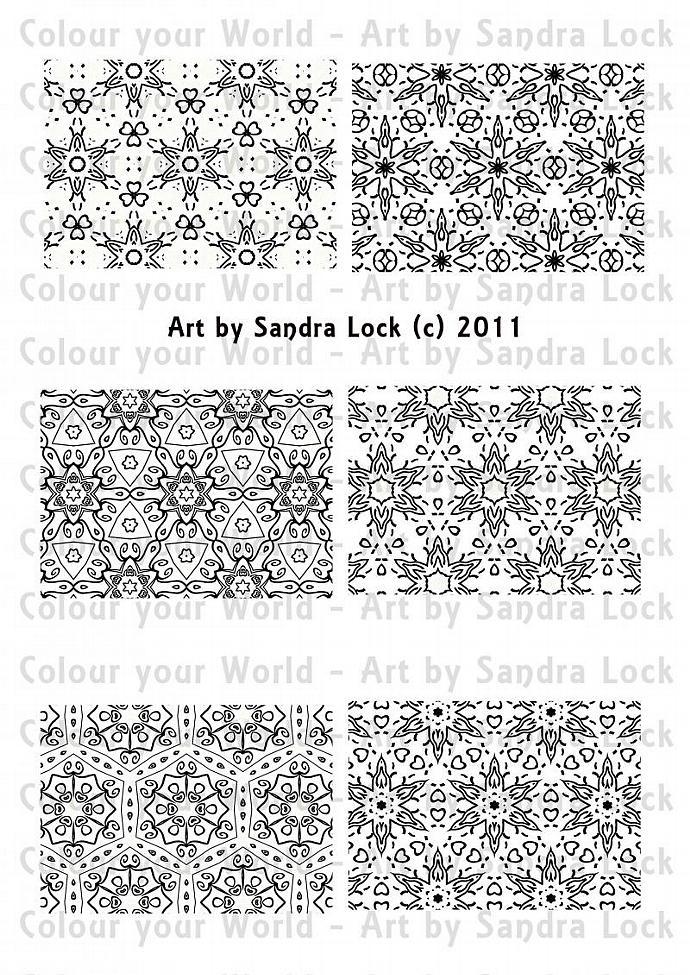 ACEO ATC mandala color-me-in printable digital download sheet 2