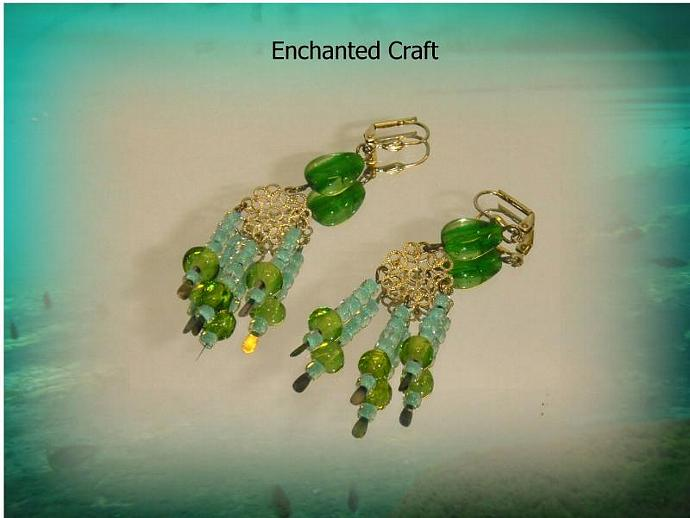lime green cascading chandelier earrings antique silver lever back