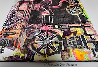 Industrial Decline Mixed Media Canvas Covered Panel. Ready to Ship