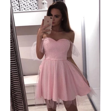 Pink Off the Shoulder Lovely Sweetheart Short Homecoming Dresses,