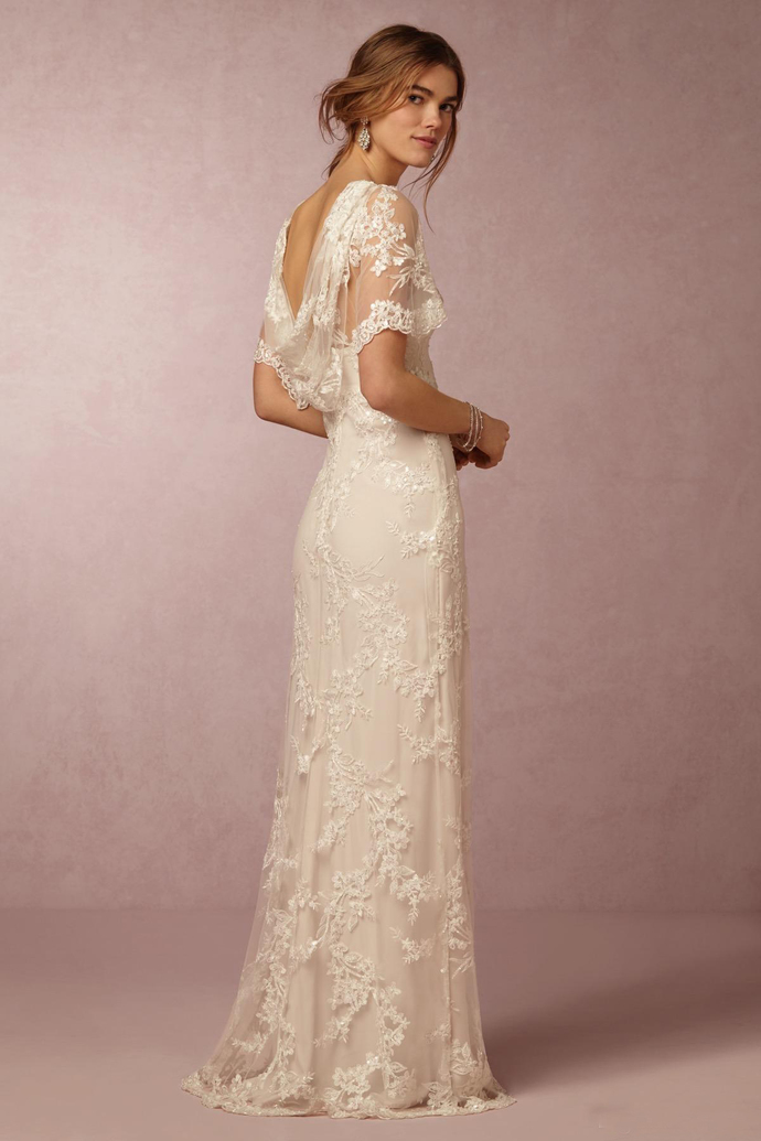 2019 Lace Wedding Dresses with Short Sleeves Bridal Gowns Cheap New Arrival Cowl