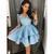 Blue Lace Satin Long Sleeves Cute Short Homecoming Dresses, 16