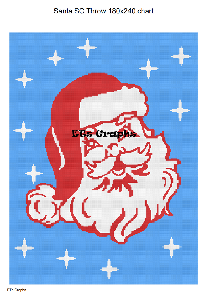 Santa SC Throw 180x240 include Graph and written color chart