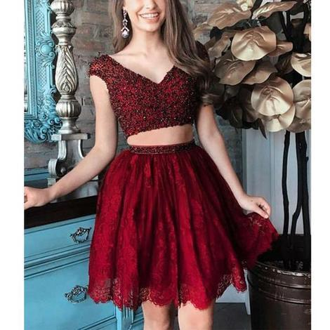 Burgundy Beaded Top Lace Two Pieces Short Homecoming Dresses,17