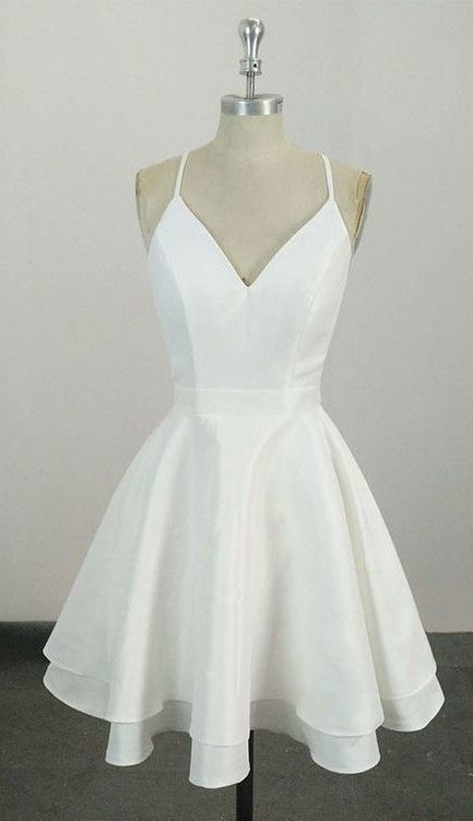 Knee Length Spaghetti Straps White Homecoming Dress,Short Party Dress,24