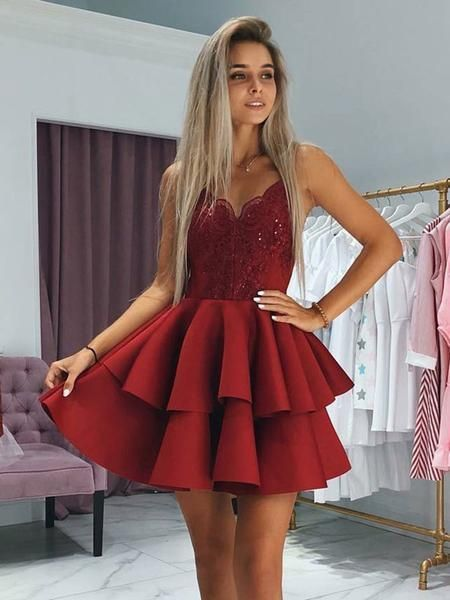 A-Line Sweetheart Spaghetti Straps Red Appliqued Homecoming Dresses With