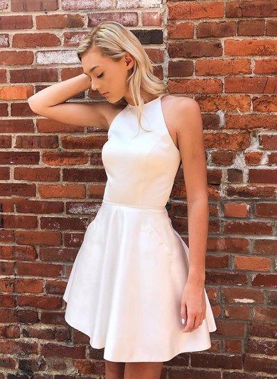 Honest A-line Satin Sleeveless Tulle Beaded Homecoming Dress,28