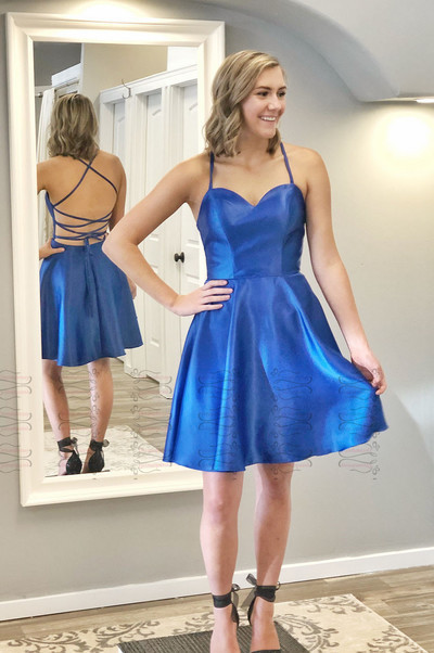 Sweetheart Neck Backless Royal Blue Simple Homecoming Dresses,,34