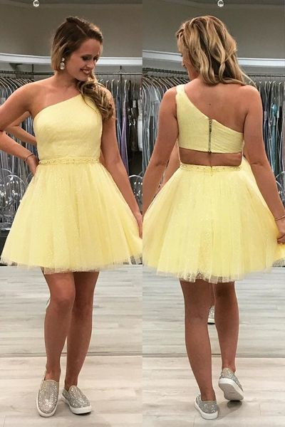 Yellow One Shoulder Short Formal Gown, Short Homecoming Dress,35
