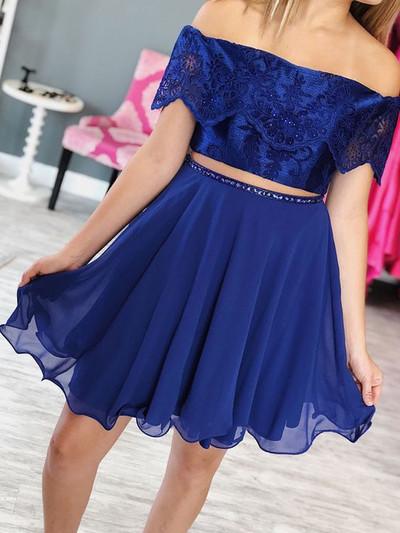 Chiffon Homecoming Dress, Lace Homecoming Dress, Two Pieces Homecoming Dress,