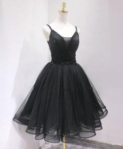 Black Tulle Beading Short Prom Dress, Puffy Black Straps Homecoming Dress,39