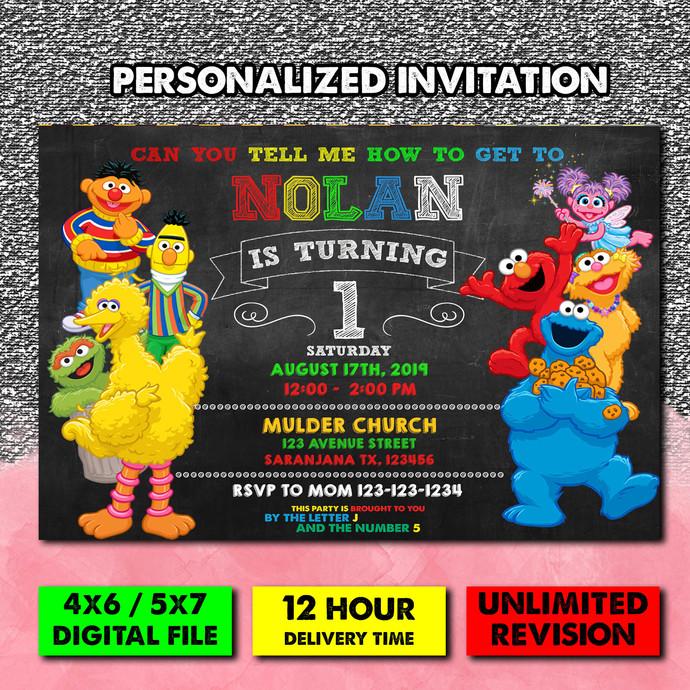 Sesame Street, Sesame street invitation, sesame street birthday invitation,