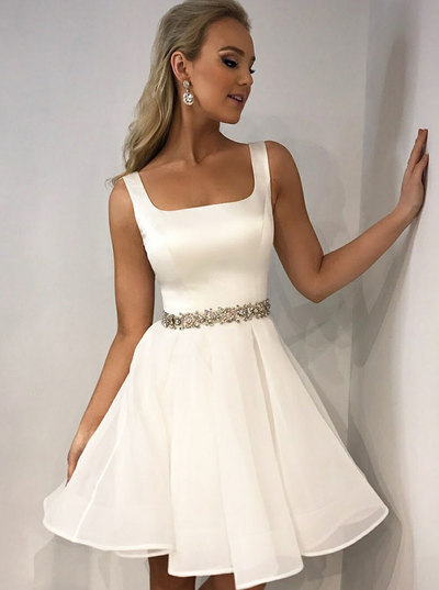 Spaghetti Straps Short White Homecoming Dresses Party Dresses,,40