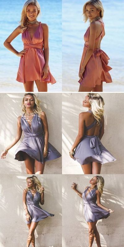 A-Line V-Neck Backless Short Blush Convertible Homecoming Party Dress,43