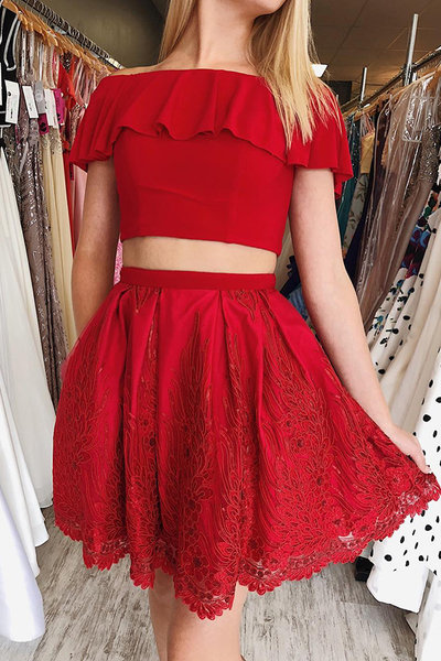 Two Piece Short Red Lace Homecoming Dress,47