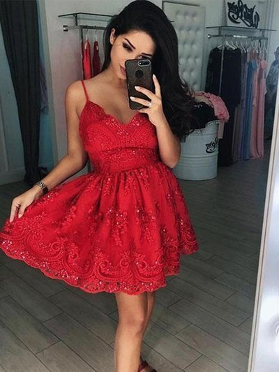 Short V Neck Red Lace Prom Dresses, Red V Neck Short Red Lace Formal Homecoming