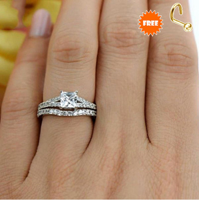 Solid 925 Sterling Silver Engagement Ring Set,White Gold Plated Princess