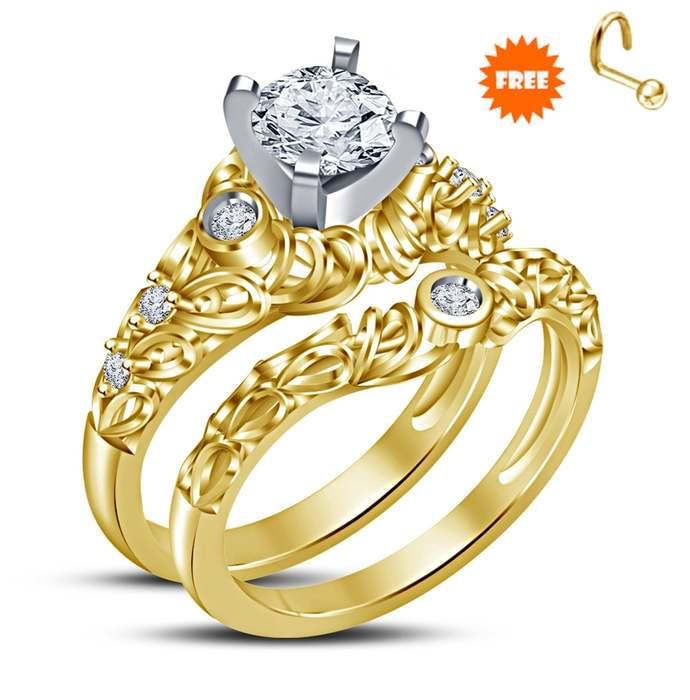14k Yellow Gold Finish Red Garnet 3 Piece Wedding Engagement Bridal Set Trio Set
