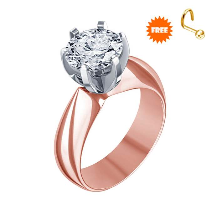 Round Cut White Diamond Solitaire Engagement Ring,18k Rose Gold Finish Simple