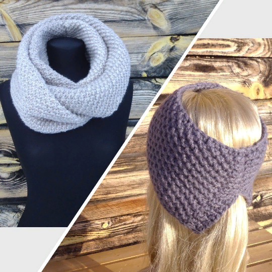 39 COLORS - 2 ITEMS - Scarf Knitted Snood Gift For Her Headband With A Slit
