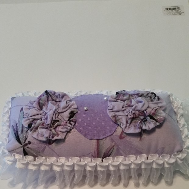 Purple Victorian-style Pin Cushion and White Ribbon