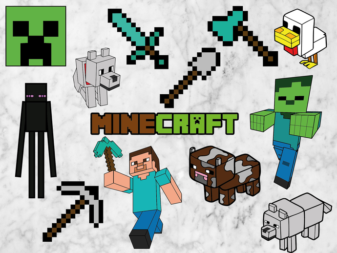 Minecraft SVG files, Minecraft cut files,clipart, eps vectors, dxf files for