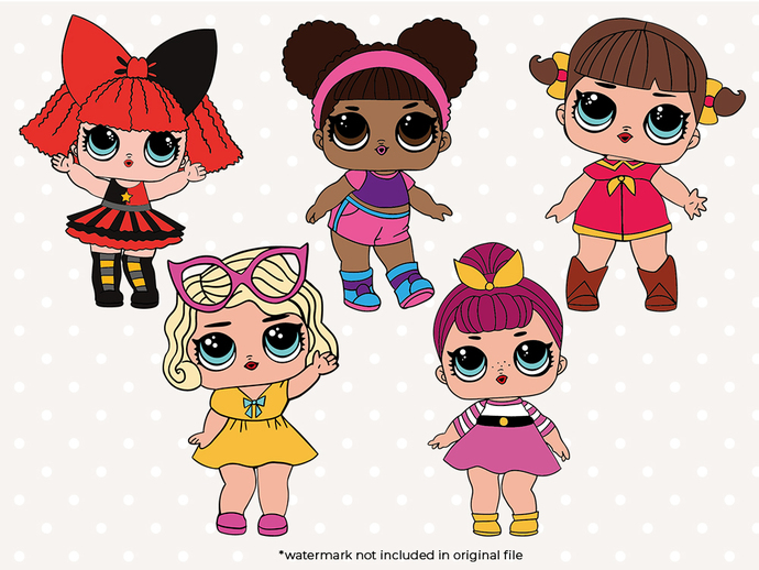 Doll SVG files,  Girl doll svg cut files, clipart, eps vectors, dxf files for