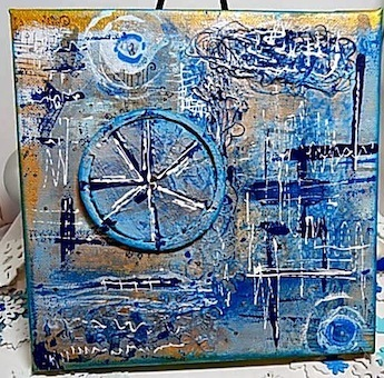 Shades of Blue Mixed Media Canvas Panel. Ready to Ship