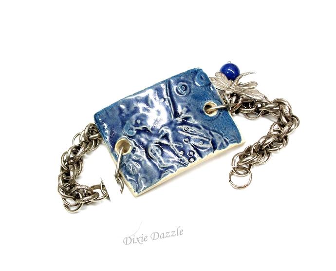 Aromatherapy dragonfly bracelet with dragonfly charm, diffuser, Ceramic jewelry,