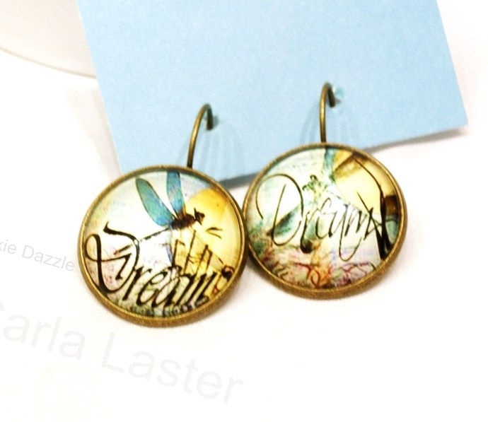 Dragonfly earrings, asymmetrical lever back earrings, blue and yellow earrings,