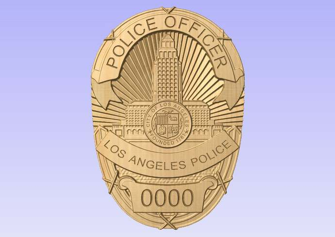 New Improved Design!! LAPD - Los Angeles Police Personalized Police Badge 3D V