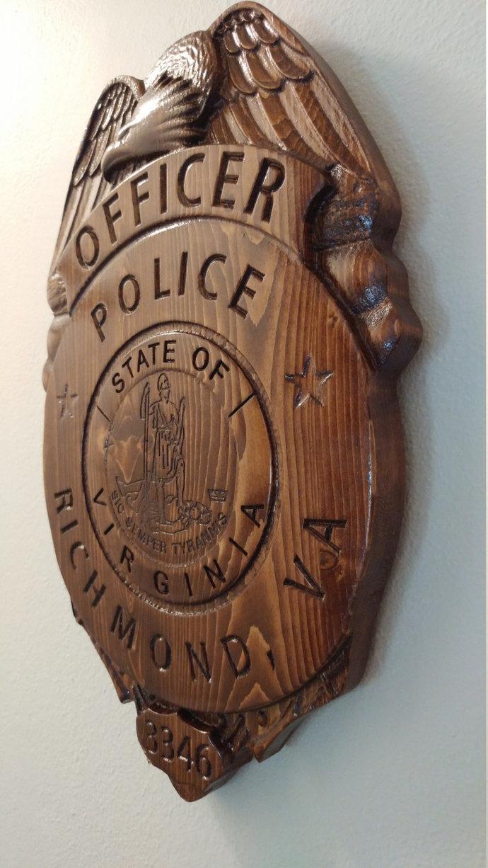 Richmond Police Officer Badge - 3D V CARVED - Personalized Police Badge V Carved