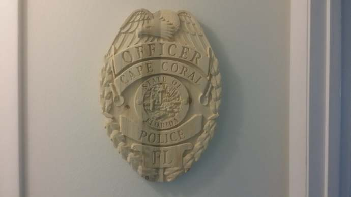 CCPD - Cape Coral Police Personalized Police Badge 3D V Carved Wood Sign