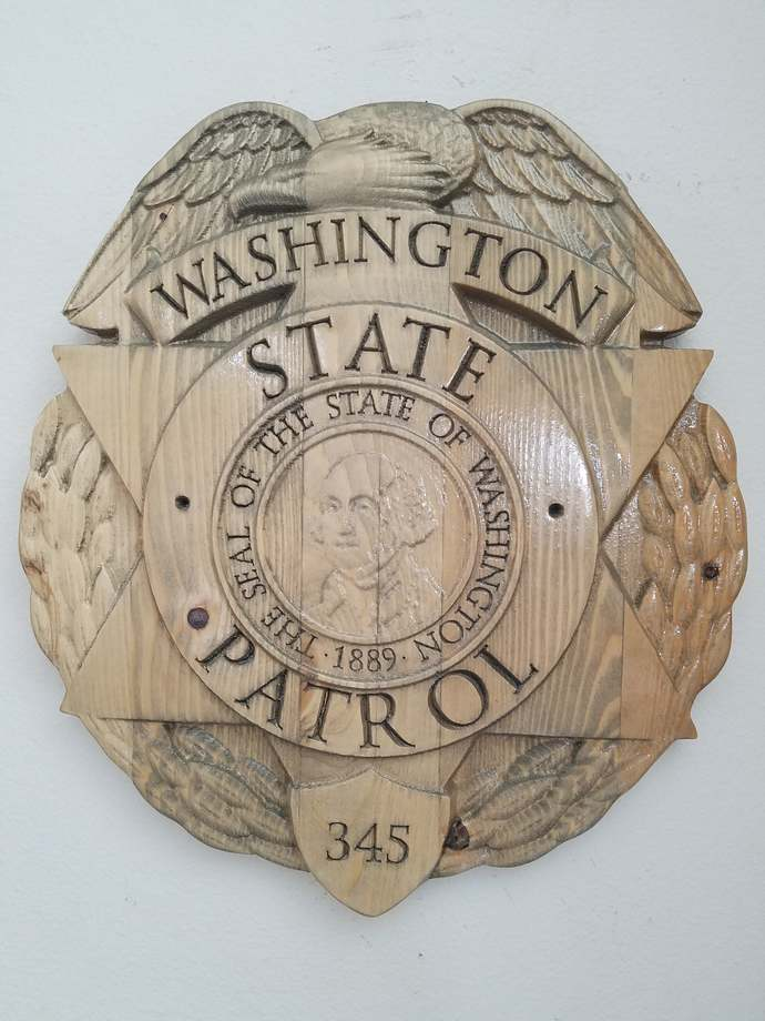 Washington State Patrol Police Officer Badge - 3D V CARVED - Personalized Police