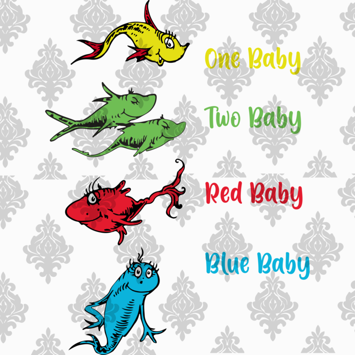 One fish two fish, blue fish red fish, Dr seuss svg, Dr seuss Birthday, Dr