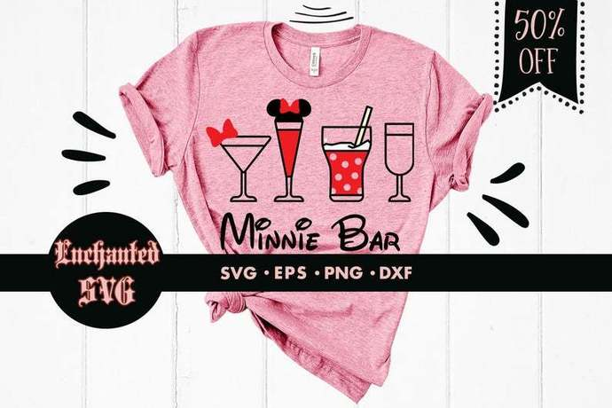 Minnie bar svg, Disney bar svg, Wine svg, Minnie coctail svg, Minnie drinks svg,