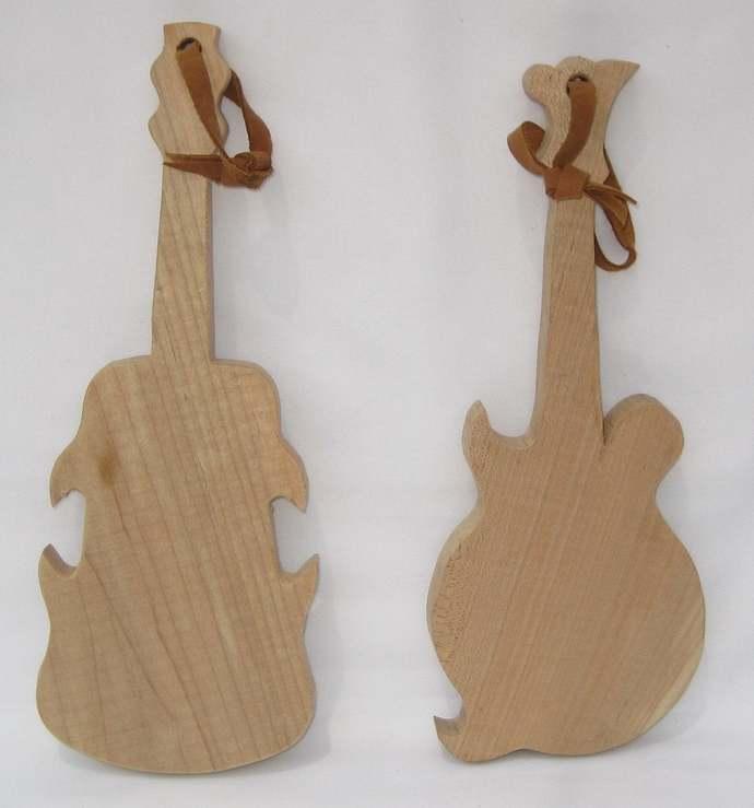 Mandolin & Fiddle Cutting Boards; Cutting boards shaped like musical