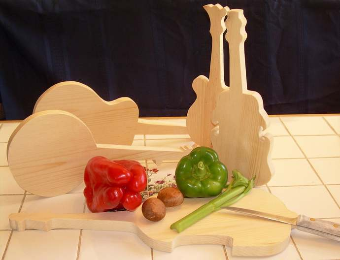 Guitar, Banjo & Bass Cutting Boards; Acoustic Instrument Cutting Board; Gift for