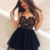 Stunning A-Line Spaghetti Straps Sweetheart Black Lace Homecoming Dresses,Short