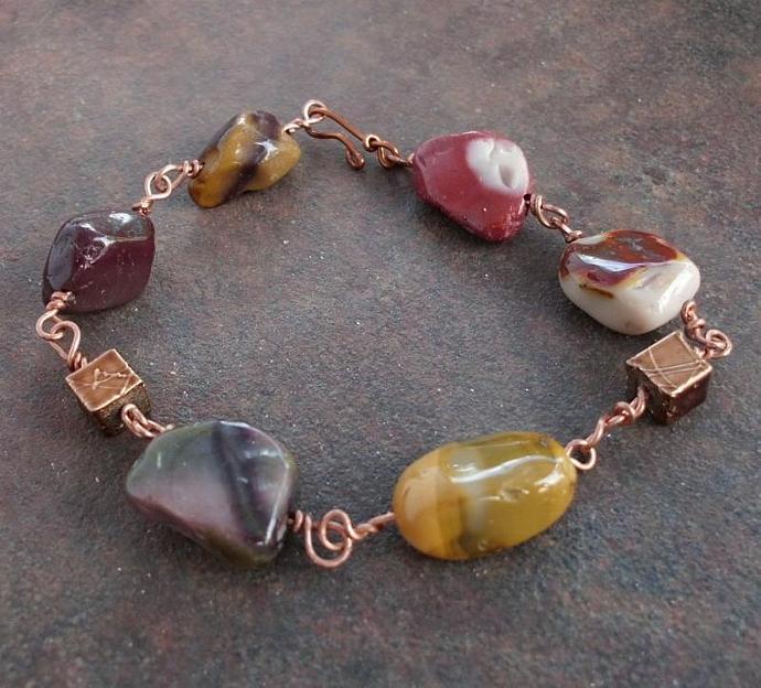 Mookaite Bracelet on Copper Wire