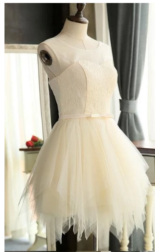 Discount A-line/Princess Homecoming Prom Dresses Short White Dresses With Lace