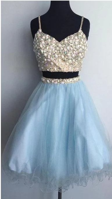 Outlet Colorful Homecoming Dresses Two Piece, Homecoming Dresses Short,